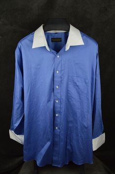 Donald Trump mens 19 34/35 blue LS cotton dress shirt SEE CONDITION #DonalTrump