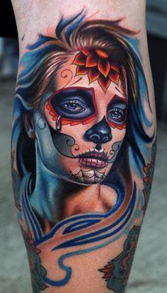 Sugar skull lady via jm-gomes.tumblr.com