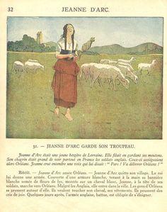 Jeanne d'Arc garde son troupeau - Manuels anciens: Brossolette, Ozouf Mon premier livre d'histoire de France CE1 1946