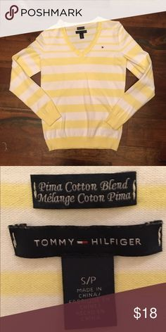 White and yellow striped Tommy Hilfiger sweater. Cute white and yellow striped Tommy sweater. Tommy Hilfiger Sweaters V-Necks