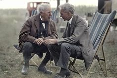 Thomas Edison & Henry Ford on a camping trip, colorized photo.