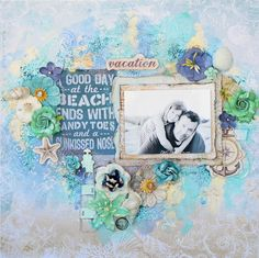 Scraps Of Elegance scrapbook kits: mixed media beach / vacation layout created with our By The Sea Kit, by Annie Carignan