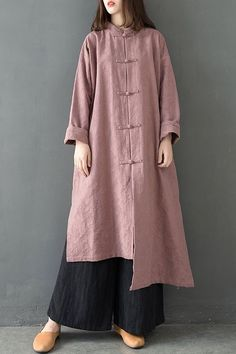 Loose Chinese Style Cotton Linen Wind Coat Women Spring Outfits C28011