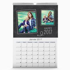 Calendrier photo A4 tendance Ardoise à personnaliser #cadeaunoel#calendrier2017