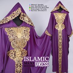 Moroccan Hoodie CAFTAN Purple Spandex Abaya Maxi Dress Gold Embroidery Jalabiya #Handmade #MaxiDress #ChristmasEIDpartywedding