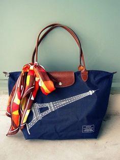 longchamp le pliage limited edition eiffel tower handbag.