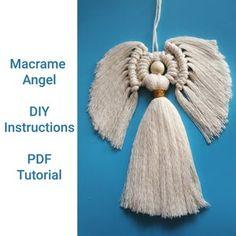 Angel Wings Pattern/Tutorial   Etsy Macrame Wall Hanging Patterns, Yarn Wall Hanging, Macrame Patterns, Craft Patterns, Angel Ornaments, Diy Christmas Ornaments, Christmas Angels, Christmas Ideas, Knots Guide