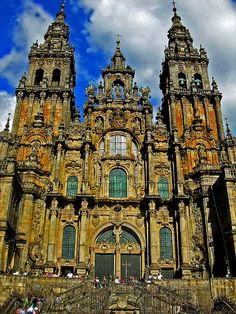 Spain, Galicia, A Coruña, Santiago de Compostela, Cathedral Places In Europe, Oh The Places You'll Go, Places To Visit, Old Churches, Catholic Churches, Marble Columns, Cathedral Church, Medieval Castle, Place Of Worship