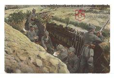Bildpostkarte Deutscher Schützengraben im 1. Weltkrieg