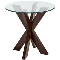 """A big """"X"""" marks this modern treasure. With sleek lines, smooth acacia wood construction and a dark espresso finish, it definitely has a wow factor. 20"""" glass top sold separately."""