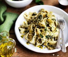 Australian Gourmet Traveller recipe for pounded almond and mint pasta sauce by Alice Waters.