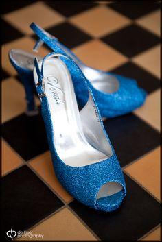 Blue glitter slingbacks-spray painted by the bride!