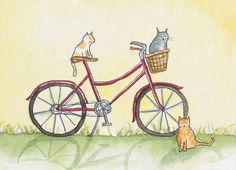 Cats+on+a+Bike+Greeting+Card+by+juniperstreetstudios+on+Etsy,+$3.50