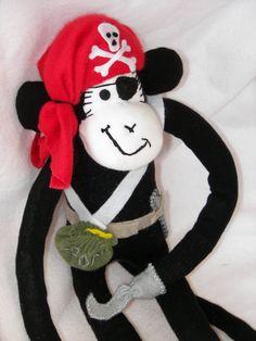 Sock monkey pirate -cute! Pirate Sock Monkey Doll Plush Toy by AsYouWishCreations4u, $40.00