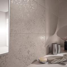 Particolare del colore Umber decoro Damasco della nostra collezione da rivestimento Visual Design.   http://www.supergres.com/your-home/rivestimenti/item/925-visual  #Bathroom #RivestimentoBagni #WallTiles #CeramisOfItaly
