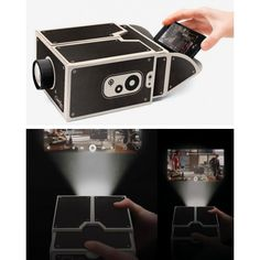Smartphone video projector by Luckies. Made of cardboard, with glass lens. Iphone Vs Samsung, Smartphone, Phone Organization, Phone Gadgets, Bath And Beyond Coupon, Phone Photography, Homescreen, Diy Videos, Phone Covers