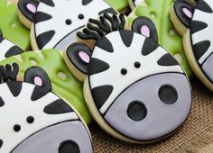 Check out our zebra cookie selection for the very best in unique or custom, handmade pieces from our cookies shops. Zebra Cookies, Fancy Cookies, Iced Cookies, Cute Cookies, Cupcake Cookies, Sugar Cookies, Lion Cookies, Iced Biscuits, Edible Cupcake Toppers