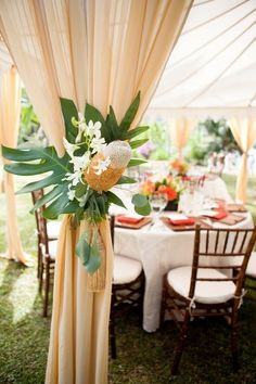 tropical theme wrap bistro tables instead of center pieces