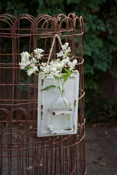 Vintage Hanging Bottle Vase, this was on Fixer Upper! I love Farmhouse decor like this!