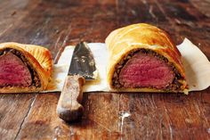 Beef Wellington from Jamie Oliver's Comfort Food. Beef Wellington celebrates the luxurious and very tender fillet of beef and is one of those ultimate blowout dishes that hits the right spot several times in one meal. When you've made this once, you'll get a sense of how you can perfect it in your oven and make it work for parties and special occasions; once prepared it's super-easy to cook and serve. http://thehappyfoodie.co.uk/recipes/beef-wellington