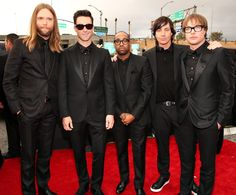 James Valentine, Adam Levine, PJ Morton, Matt Flynn and Mickey Madden of Maroon 5 #grammys2013