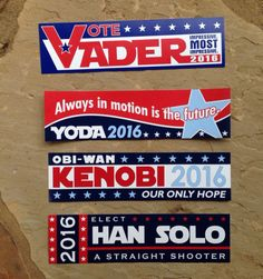 SET OF 4 Star Wars Election Bumper Stickers 15 by kariannkelly, $17.00 I like the Yoda one best lol