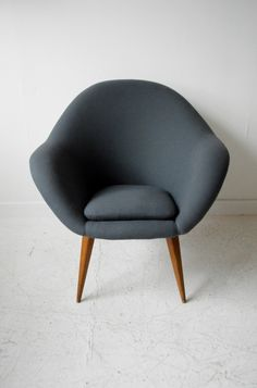 1950s reupholstered Czech armchair by Drevopodnik Holesav from www.osimodern.com