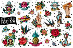 Old school traditional tattoo set by Vectorcreator on Traditional Tattoo Filler, Traditional Tattoo Flowers, Traditional Tattoo Old School, Traditional Style Tattoo, American Traditional Tattoos, Traditional Flash, Traditional Tattoo Elements, Traditional Tattoo Sleeve Filler, Traditional Anchor Tattoo