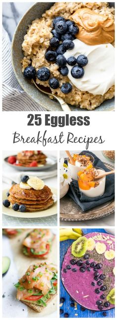 25 Eggless Breakfast Ideas for when you run out of eggs! What can you make for breakfast without eggs? Turns out, there are so many options! Breakfast ideas without eggs Breakfast Ideas Without Eggs, Healthy Breakfast For Kids, Savory Breakfast, Breakfast Bowls, Eggless Recipes, Delicious Recipes, Healthy Recipes, Food To Make, Recipe Articles
