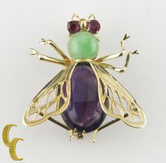 14k Yellow Gold Beetle/Scarab Brooch w/ Gemstone Accents 5.05 grams #Unbranded