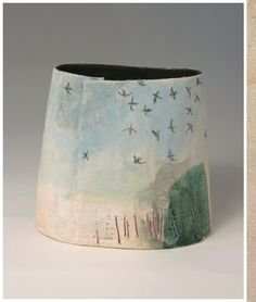 Love the storybook qualities of the lanscape scenes on these pieces.