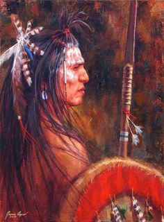 """James Ayers, painter of western art and American Indians, presents """"Guardian Of His People"""". The work displays a Crow brave with his spear and shield. Native American Warrior, Native American Quotes, Native American Pottery, Native American Women, American Spirit, American Indian Art, Native American History, Native American Indians, Cherokee History"""