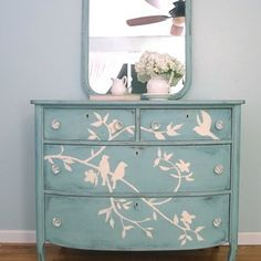 yellow chalk paint furniture   Antique dresser painted with light blue chalk paint and and a bird and %u2026