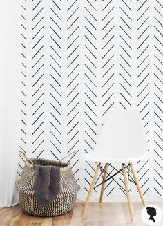 Delicate Herringbone Wallpaper / Traditional or Self Adhesive Wallpaper M009
