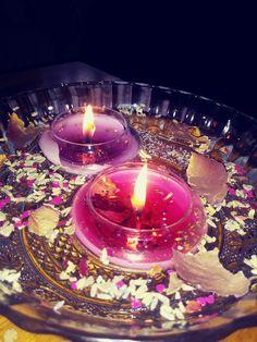 LG SPELL CANDLES STARTER ALTAR  KIT ~ GLASS HOLDER ~ 5 PURE COLOUR SPELL CANDLES