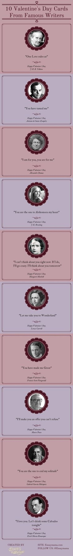 10 Valentine's Day Cards From Famous Writers #infographic #ValentinesDay