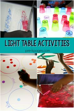 Light table activities for preschool, pre-k, and kindergarten; ideas for using a light table or light box in Pre-K classroom; Science Center Preschool, Preschool Tables, Preschool Learning Activities, Preschool Lessons, Preschool Classroom, Sensory Activities, Preschool Activities, Table Activities For Toddlers, Classroom Board