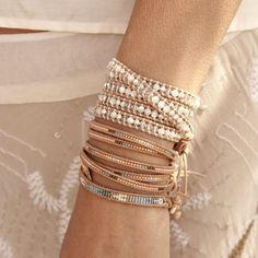 beaded bracelets, Neutral stack bracelets http://www.justtrendygirls.com/neutral-stack-bracelets/