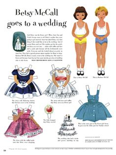 Betsy McCall and her cousin put on their fanciest looks to attend a wedding. #vintage #paperdolls #paper #dolls #nostalgia