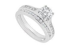 14K White Gold : Diamond Engagement Ring with Wedding Band Set 0.75 CT TDW www.luxurystore4u.com