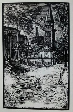 St Mary's Church and the old flour mill from the Thames river at Battersea, wood engraving by John Lawrence from London Snow by Paul Theroux, 1979
