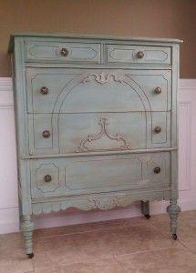 Refinished Antique Dresser | victorian dresser duck egg annie sloan | Chalk Paint | Pinterest