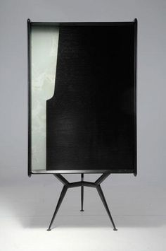 Anonymous; Painted Metal, Ebonized Wood and Glass Cabinet, c1955.