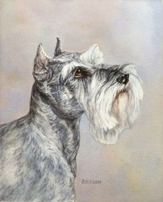 Mini+Schnauzer+Oil+Painting+Pet+Portrait+Animal+Commission+Art+Dog,+painting+by+artist+Debra+Sisson