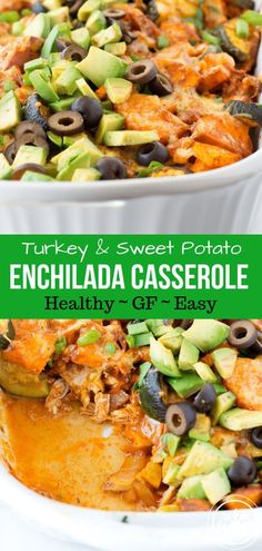 This Turkey or Chicken Sweet Potato Enchilada Casserole is what winning dinner casseroles are made of just chop, toss, bake, and eat! #glutenfree #healthy #healthyfood #healthyrecipes #healthyliving #hungryhobby #thanksgiving #thanksgivingleftovers #cincodemayo via @hungryhobby