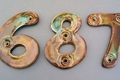 Handmade ceramic house numbers in brown glaze by AnahitaKingStudio, $8.00