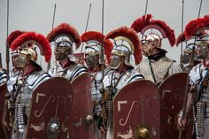 Roman parade helmet with horsehair plume and goose feathers, silvered, with brass applique, and matching greaves. Ancient Rome, Ancient Greece, Ancient History, European History, Ancient Aliens, American History, Roman Warriors, Roman Legion, Greek Warrior
