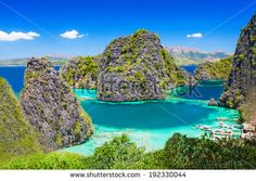 Very beautyful lagoon in the islands, Philippines - stock photo