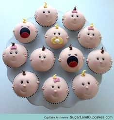 Cupcakes decorados con motivos de bebés (para embarazadas)