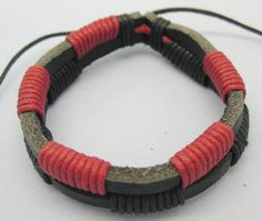 Shoply.com -Fashion bracelet made by leather and rope  Cuff leather bracelet-Red. Only $2.99